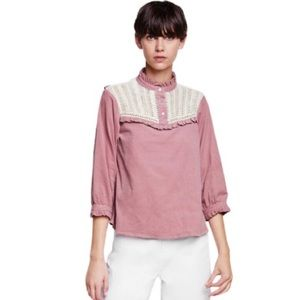 NWT Zara Contrasting Needlecord Top in Pink